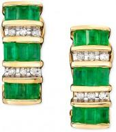 14k Gold Emerald (1-3/8 ct. t.w.) & Diamond (1/8 ct. t.w.) Earrings