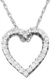Macy's Diamond Necklace, 14k White Gold Diamond Heart Pendant (1/10 ct. t.w.)