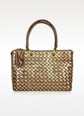 Fontanelli Brown & Gold Woven Italian Leather Large Tote Bag