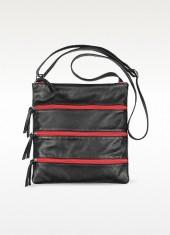 Fontanelli Black Zippered Italian Leather Flat Shoulder Bag