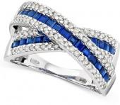 14k White Gold Sapphire (1-1/3 ct. t.w.) & Diamond (3/8 ct. t.w.) Crossover Ring