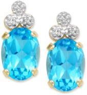10k Gold Blue Topaz Earrings