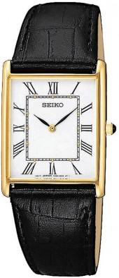 Seiko Watch, Men's Black Leather Strap 32mm SNF672