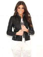 Doma Leather Doma Leather Moto Jacket with Detachable Hood In Black