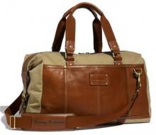 Tommy Bahama Canvas & Leather Duffel Bag