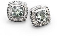 David Yurman Diamond, Prasiolite & Sterling Silver Button Earrings