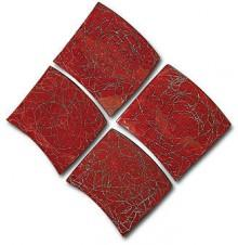 "Howard Elliott ""Red with Textured Accents"" Curved Wall Panels, Set of 4"
