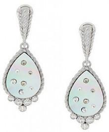 As Is Judith Ripka Diamonique & Mother-of-Pearl Drop Earrings