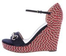 Gucci Horsebit Suede Sandal Wedges
