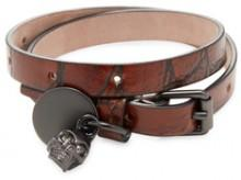 Double-Wrap Skull Charm Leather Bracelet