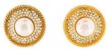 Chanel Faux Pearl & Crystal Clip-On Earrings