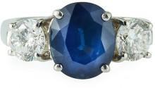 Diana M. Jewels Platinum Oval Sapphire & Diamond Ring, 1.54tcw, Size 5.5