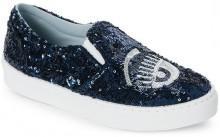 chiara ferragni Blue & Silver Sequined Flirting Platform Slip On Sneakers