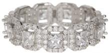 Best Silver Inc. Princess Cut CZ Halo Eternity Ring
