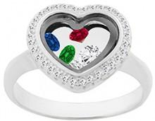 Red & Blue Cubic Zirconia Oval-Cut Open-Heart Ring