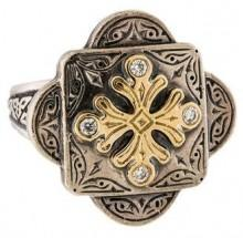 Konstantino Two-Tone Diamond Cross Ring