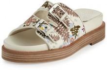 Laurence Dacade Kerlin Embroidered Slide Sandal, Off White