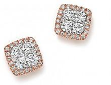 Diamond Cluster Stud Earrings in 14K Rose Gold, 1.0 ct. t.w. - 100% Exclusive