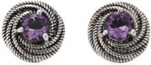 Nicky Butler .80ctw Amethyst Sterling Silver Love Knot Stud Earrings