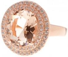 Rose Gold Plated Silver Oval-Cut Simulated Morganite Double Halo Ring