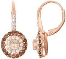 14K Rose Gold Plated Sterling Silver Morganite & Smoky Quartz Halo Leverback Earrings