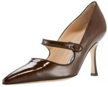 Manolo Blahnik Patent Leather Mary Jane, Dark Brown
